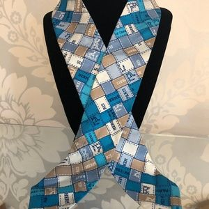 HERMES Light Blue Print 100% Silk Twilly Scarf